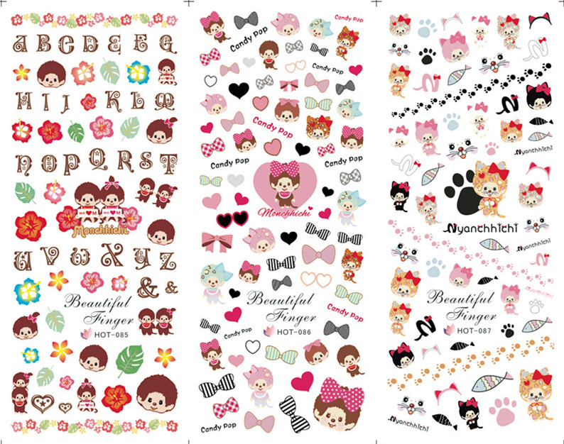 Japanese And South Korean Environmental Nail Stickers Red Lip Angel ...