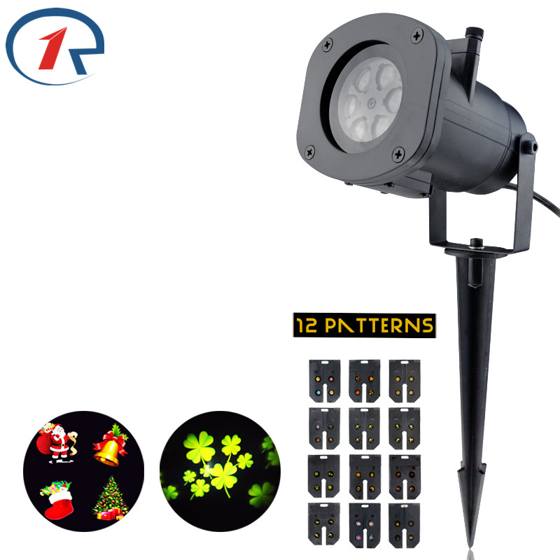 ZjRight LED stage light outdoor Waterproof 12Patterns projection effect light dj disco Birthday Halloween party Christmas lights niugul dmx stage light mini 10w led spot moving head light led patterns lamp dj disco lighting 10w led gobo lights chandelier