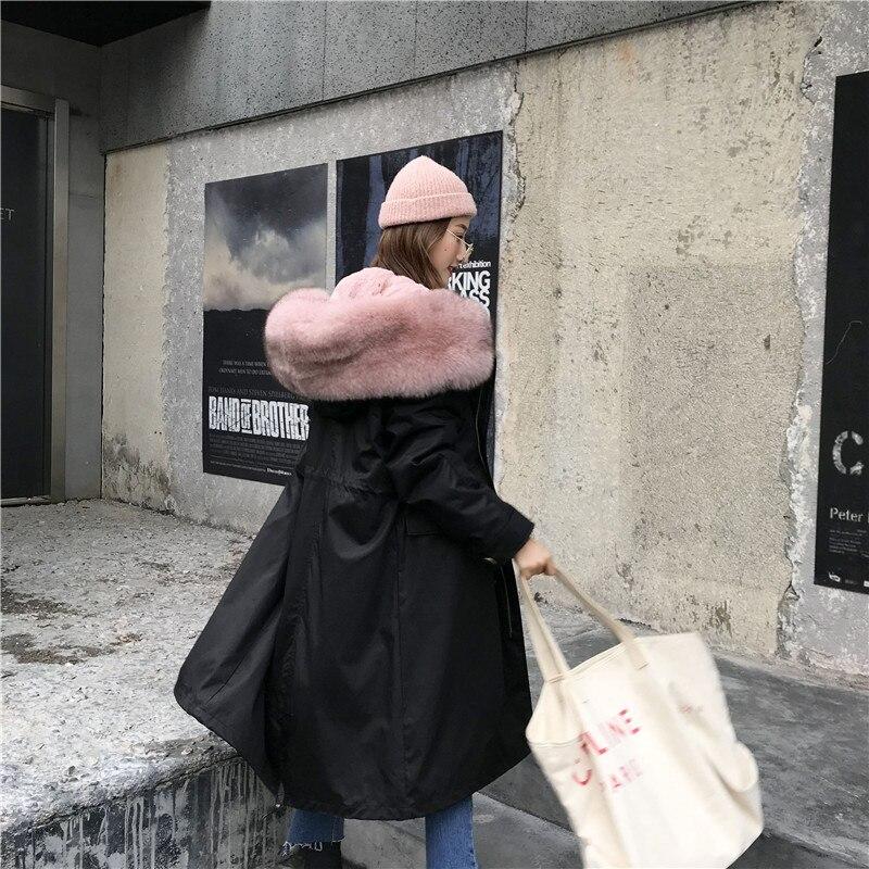 Style Long De Manteau Veste Rex Col Long Length Lapin medium Survêtement D'hiver Knee Long 2018 Femmes medium Doublure Length À knee knee Renard Fourrure Capuchon vfqPpp