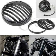 5 3/4 Black Chrome CNC Headlight Grill Cover For Harley Sportster XL 883 1200 2004-2014 New