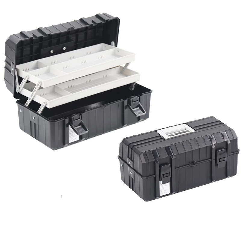 Multi-function three-layer plastic toolbox folding hardware accessories tool box organizer parts plastic case storage