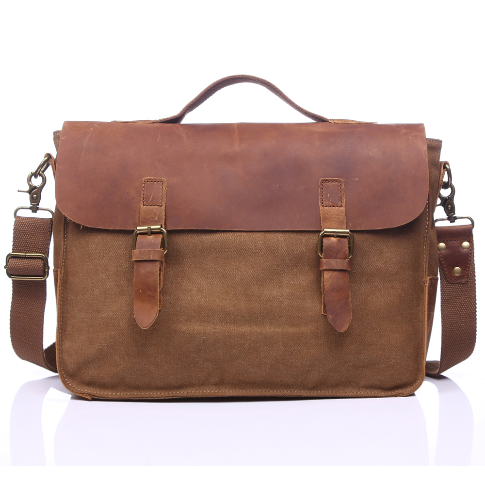 ФОТО Vintage Men Crossbody Bag Canvas Laptop Shoulder Bag Men Messenger Bag Retro Leather Handbag Tote Briefcase