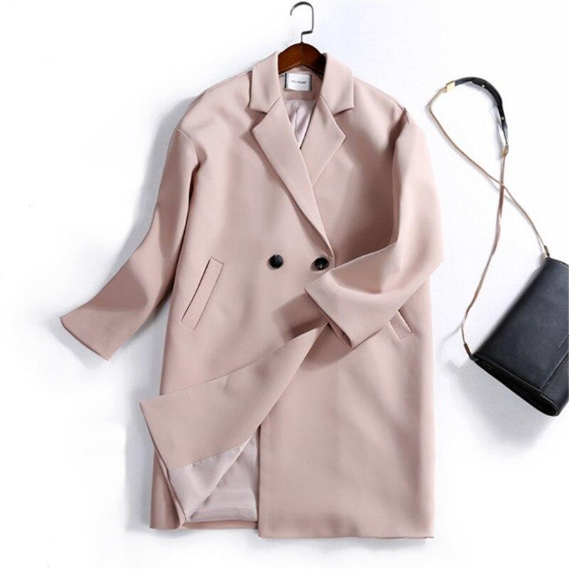 Nouveau 2 Coupe Manteau Section Veste 2018 Femmes Blazer Automne Lâche Feminino vent Longue Femme 3 1 Costume TqzUwxa