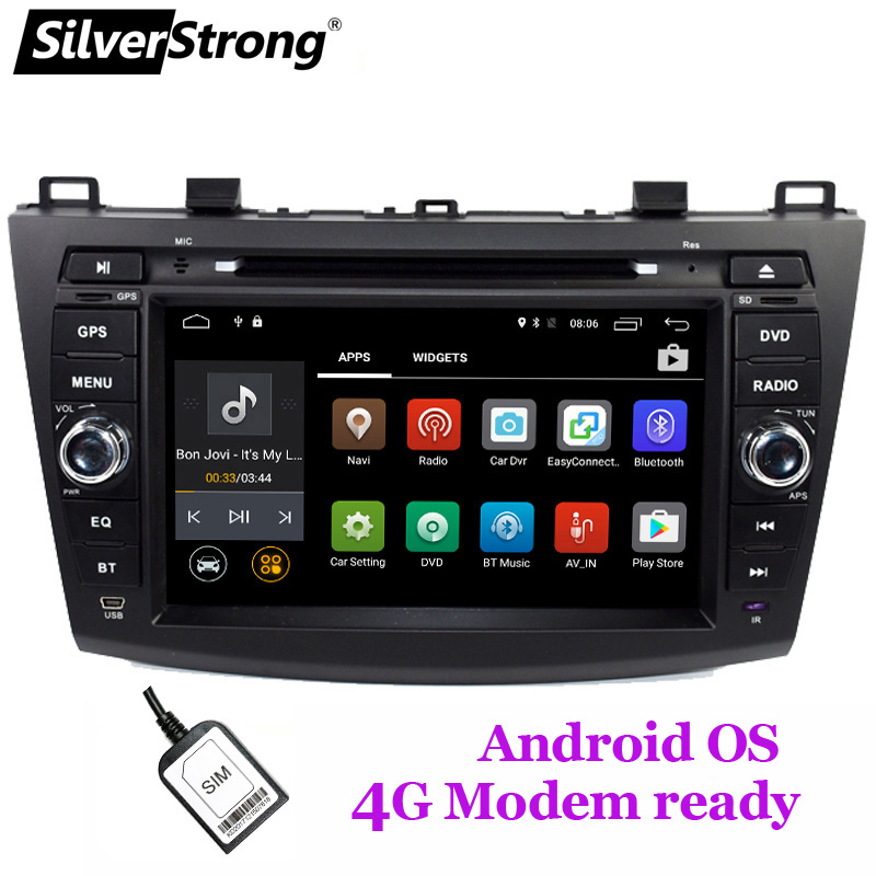 SilverStrong 4G Modem Android 8.1 Car DVD For Mazda 3 Axela 4G SIM Car Multimedia Mazda 3 Bluetooth 4.0 WIFI Option TPMS
