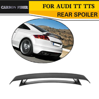 Rear Trunk Spoiler for Audi TT MK2 8J TTS Coupe 2 Door Only 2008 2014 Quattro Convertible Black FRP Carbon Fibre Car Wing Lip