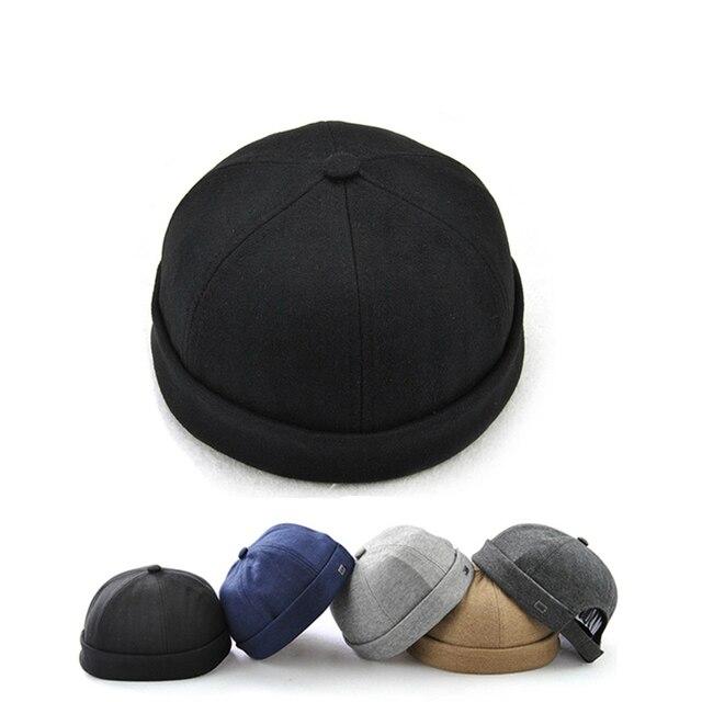0449e6fb3 US $6.77 37% OFF|Novelty Fold Skullcap Retro Sailor Cap, Men Women Warm  Rolled Cuff Bucket Cap Brimless Hat Adjustable Hook & Loop Cotton Bonnet-in  ...