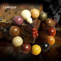 natural Buddhist Tibetan Buddha Bracelet Men Prayer Beads Natural Handmade Bracelet Bangle Wrist Ornament Wood Buddha Bead Women