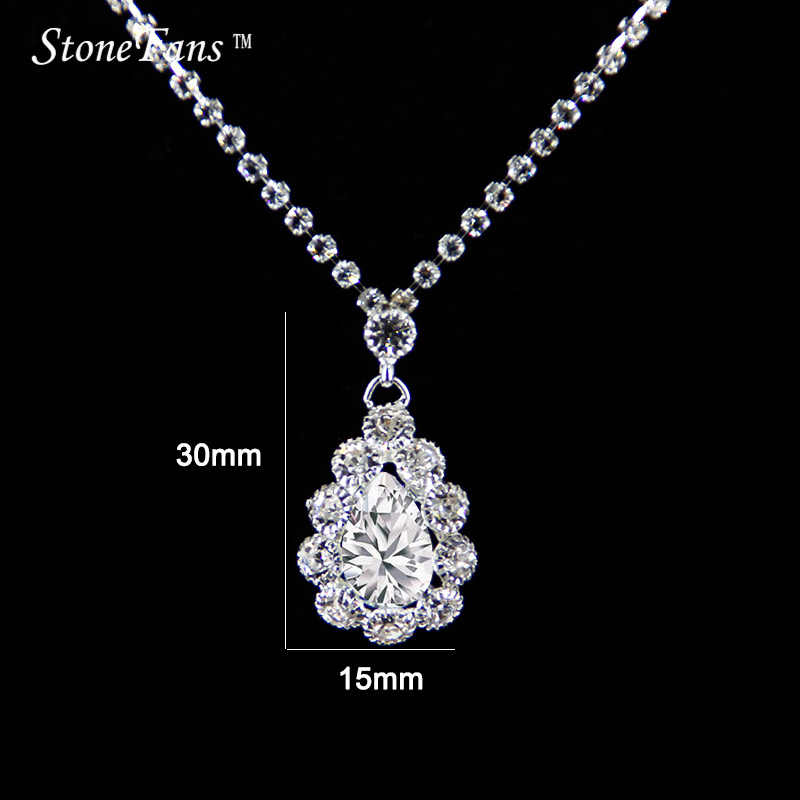 55bbc2d667 StoneFans Simple Necklace Set Jewellery Silver Filled Wedding Charm  Necklace Round Zircon Fire Opal Pendants For Women Gifts Ema