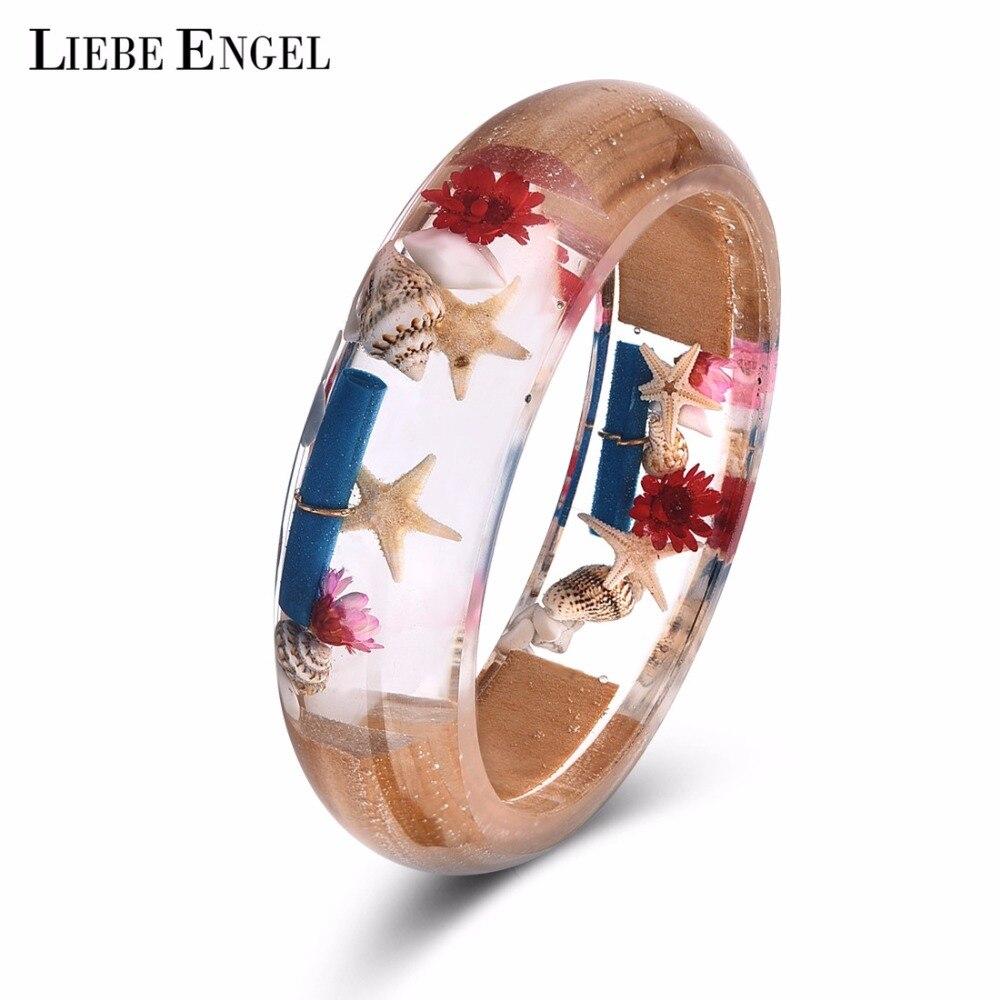 LIEBE ENGEL Fashion Creative Resin Bracelet Bangle Classic Starfish Shell Bangle Real Flower Jewelry Gift For Girl Drop Shipping
