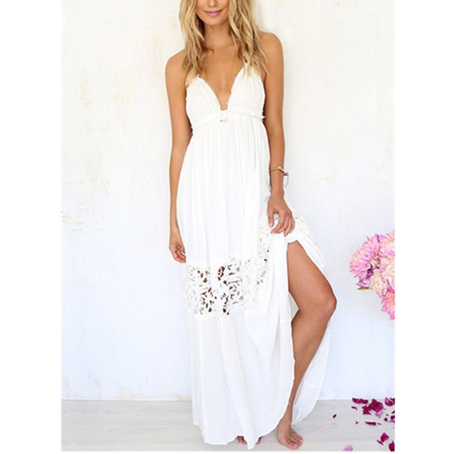47c051964b3b2 Vestido de moda vestido Sexy divide Casual verano playa vestido sin mangas  mujer largo Boho blanco