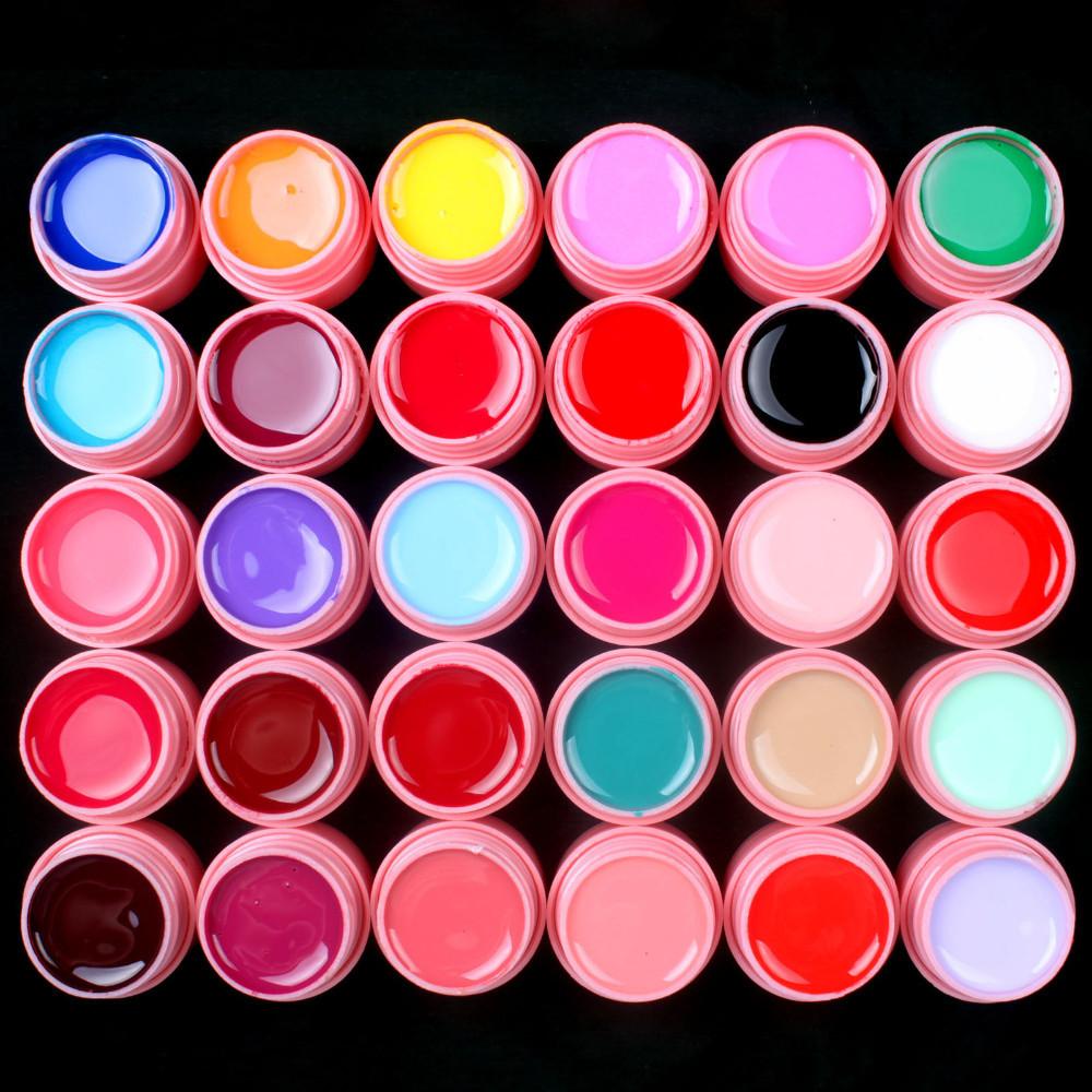 UVGL038- 30 Pcs Color Mix Solid Pure Nail Art UV Builder Gel