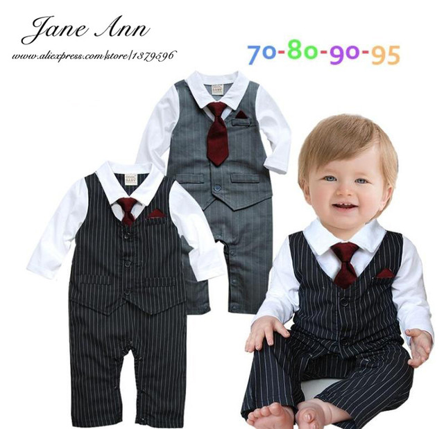 Gentleman clothes baby bebe menino infant toddler boy  black and gray vest  tie striped cotton romper jumpsuit wedding clothing