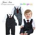 Ropa de caballero ropa de bebé bebe menino infantil niño niño negro y gris chaleco corbata a rayas de algodón del mameluco del mono ropa de la boda