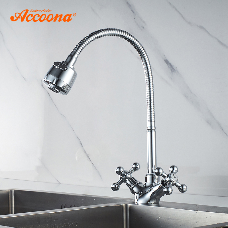 Accoona Kitchen Faucet 360 Swivel Mixer Hot and Cold Water Classic Faucet Sink Tap torneira Double handle Kitchen Faucets A4871