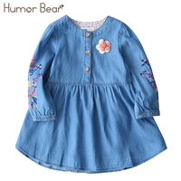Humor Bear 2017 Spring Girls Denim Dress Children Clothing Casual Long Sleeve Blue Girls Jeans Embroidery