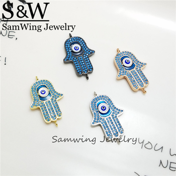 10 Piece  Newest 28mm*17mm Beautiful Religious AAA CZ Crystal Eye Hand Hamsa Charms in good quality