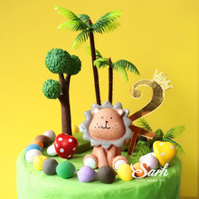 Ins Lion Coconut Trees Cake Toppers Birthday Dessert Decoration for Boy Girl Childrens Day Party Suplies Cute Gifts