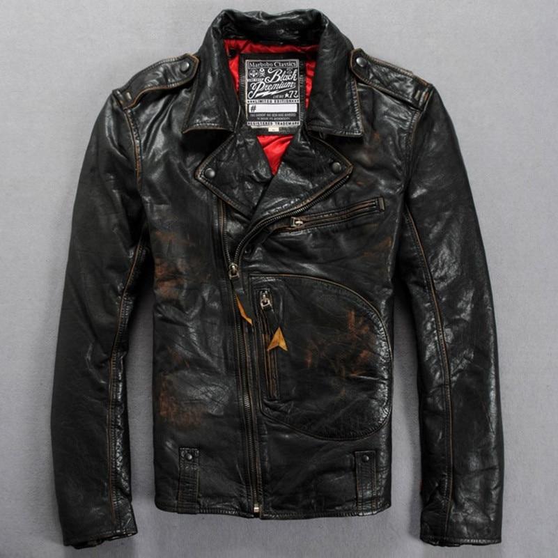 2017 italy vintage leather motorcycle jacket men adjustable waist slim fit biker jacket male fashion real leather jacket for men
