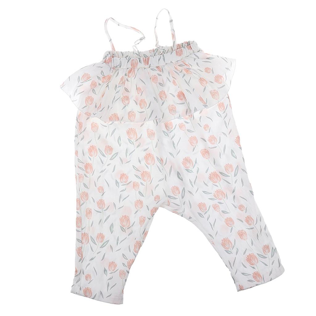 Little Girls Floral Sling Romper Pants One-Pieces Lace Strap Cotton Jumpsuit