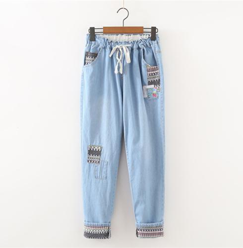 Sistema japonés Mori chica Parche pantalones casaul estilo Jeans pantalones Rectos Elásticos pantalones de la chica joven fresca primavera pantalones
