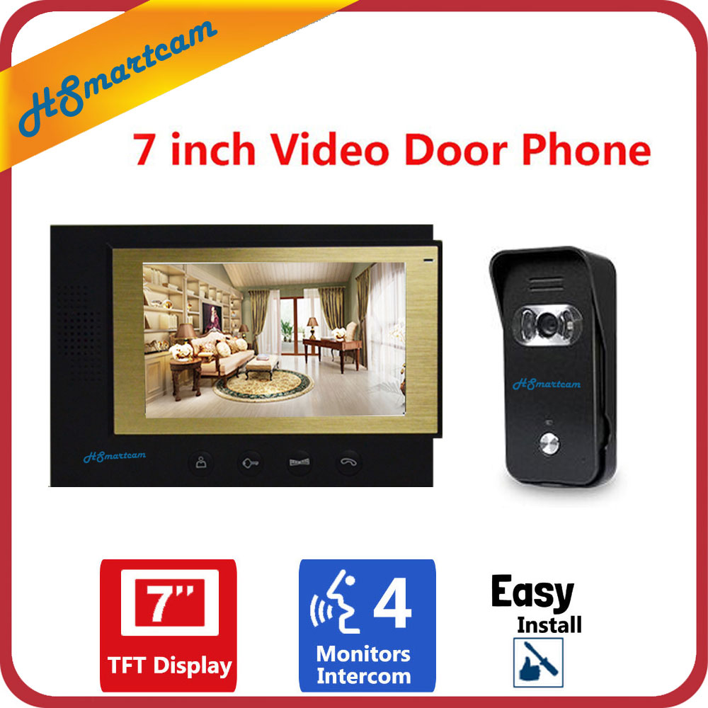 7 inch TFT LCD Video Doorphone Visual Doorbell Intercom System 800x480 Indoor Monitor 700TVL Outdoor Infrared Wide Angle Camera 7 inch video doorbell tft lcd hd screen wired video doorphone for villa one monitor with one metal outdoor unit rfid card panel