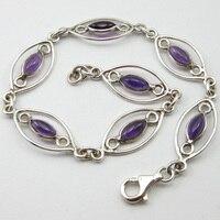 PURE SILVER Purple Amethysts Handmade Bracelet 8.3 ! Fine Jewelry