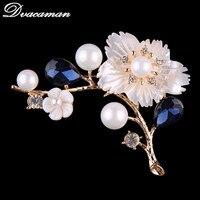 Dvacaman New Fashion Flower Brooch Pins Women Simulated Pearl Scraf Brooch Wedding Bridal Party Crystal Jewelry