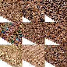Lychee Life A3 42x30cm Vintage Flor Mariposa tela impresa hecha a mano hojas de cuero sintético Diy bolsas de ropa manualidades de costura