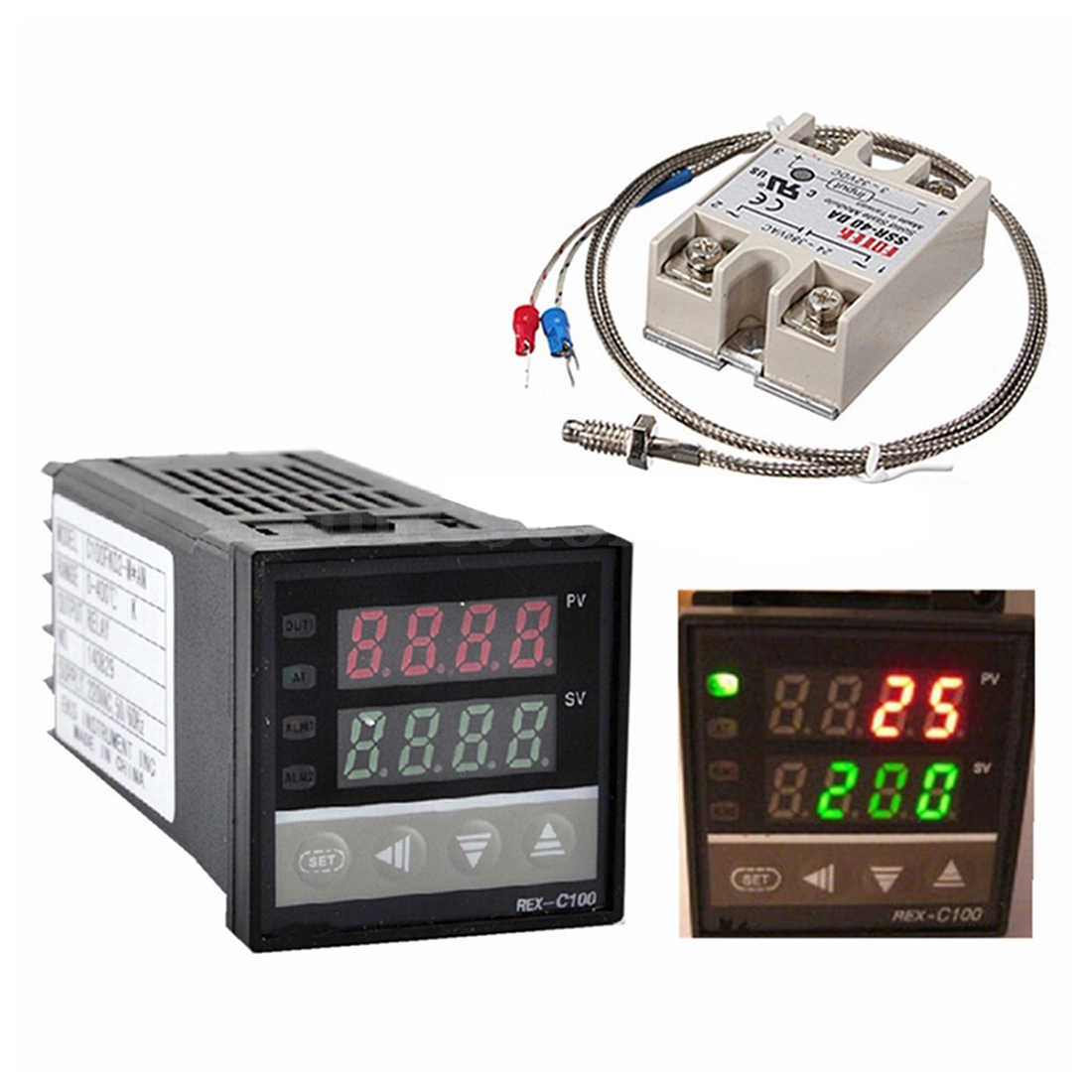 Digital 220V PID REX-C100 Temperature Controller + Max.40A SSR + K Thermocouple PID Controller Set + Heat Sink 14 bit Resolution