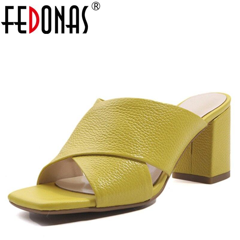 Ayakk.'ten Yüksek Topuklular'de FEDONAS 1New Varış Kadın Gladyatör Sandalet Hakiki Deri Yaz Yüksek Topuklu Ayakkabılar Kadın En Kaliteli Marka Sığ Terlik'da  Grup 1