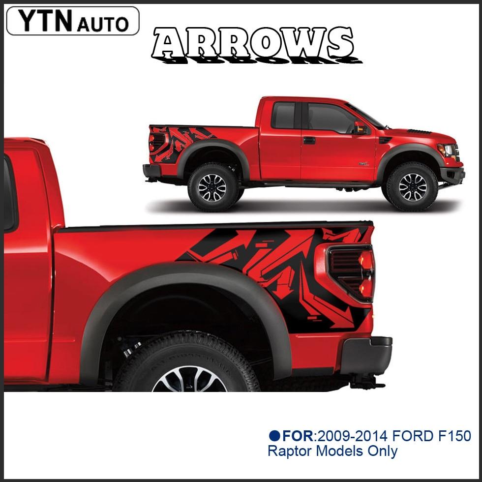PANAH tubuh belakang tail side grafis vinyl decalsbody ekor sisi grafis vinyl decals untuk Ford FORD F150 RAPTOR 2009-2014