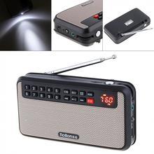 Rolton Mini altavoz de Radio FM T60 con USB, tarjeta TF portátil, Subwoofer con pantalla LED, reproductor de música MP3, lámpara de antorcha, verificación de dinero