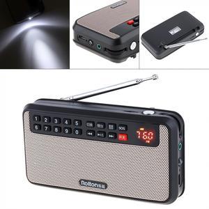Image 1 - Rolton T60 المحمولة TF بطاقة USB صغير FM سماعات راديو صغيرة تعمل لاسلكيًا مع شاشة LED مضخم صوت مشغل موسيقى MP3/مصباح الشعلة/التحقق من المال