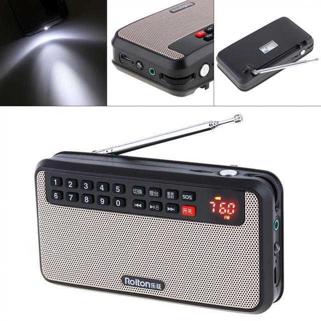 Rolton T60 المحمولة TF بطاقة USB صغير FM سماعات راديو صغيرة تعمل لاسلكيًا مع شاشة LED مضخم صوت مشغل موسيقى MP3/مصباح الشعلة/التحقق من المال