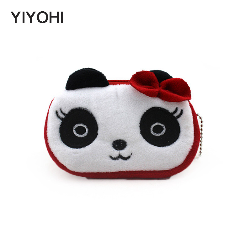 YIYOHI Hot Sale Kawaii Cartoon Credit Card Bag Children Plush Coin Purse Zip Change Purse Wallet Kids Girl Women For Gift