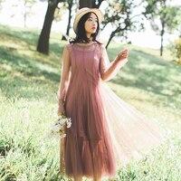Nova Primavera Mulheres se vestem de Malha Alcinhas Não 100 Super Fino + Outfit Vestidos Cinza Roxo Preto Rosa Apricot 1323