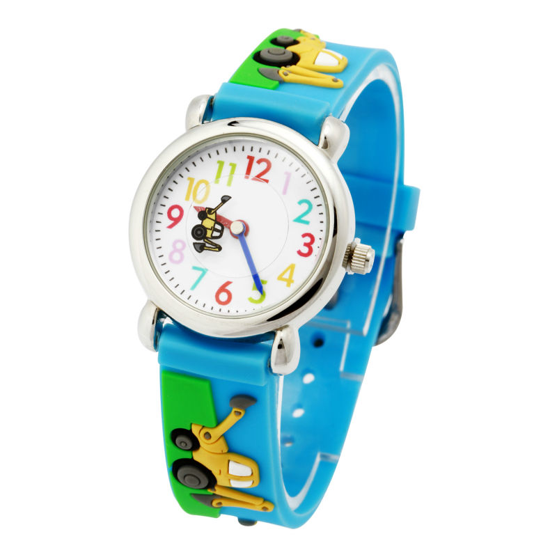 Objective High Quality 3d Children Small Trailer Car Silicone Watch Quartz Wristwatch In Pain Watches