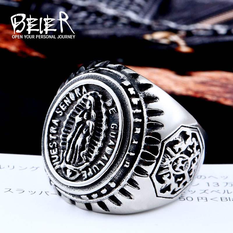 Beier new arrive 316L Stainless Steel domineering figure man Ring Fashion Jewelry Virgin Mary men Ring gift LLBR8-281R