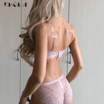 2019 New Thick Gather Cotton Deep V Embroidery Lace Push-Up Bra Set 1