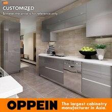 Oppein Дизайн Серая акриловая отделка для кухонных шкафов кухонная мебель OP16-A01