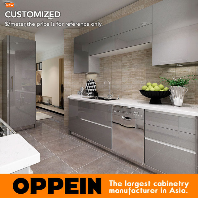 2016 oppein new design grey acrylic finish kitchen cabinet for Harga kitchen cabinet 2016