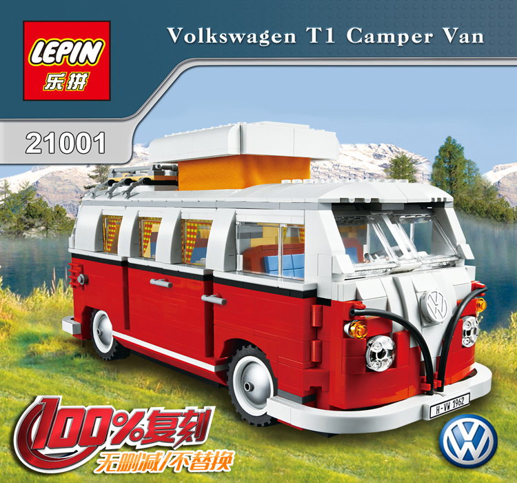ФОТО lepin 1354 pcs creator series the volkswagen t1 camper van model building blocks classic compatible 10220 technic car toys