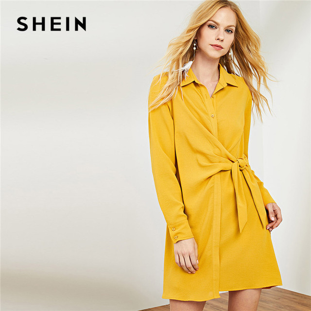 84f3ee7f915 SHEIN Ginger Workwear Office Lady Elegant Shirt Dress Knot Button 2018  Autumn Dresses Winter Long Sleeve Front Shirt Dress