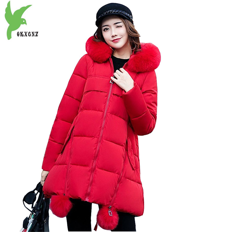 New Winter Women Bread Down Cotton Jacket Coats Fashion Hooded Fur Collar Casual Costume Plus Size Thick Loose Jacket OKXGNZ 830 okxgnz winter cotton jacket coat women 2017long cotton padded costume hooded loose warm coats plus size women basic coats ah021