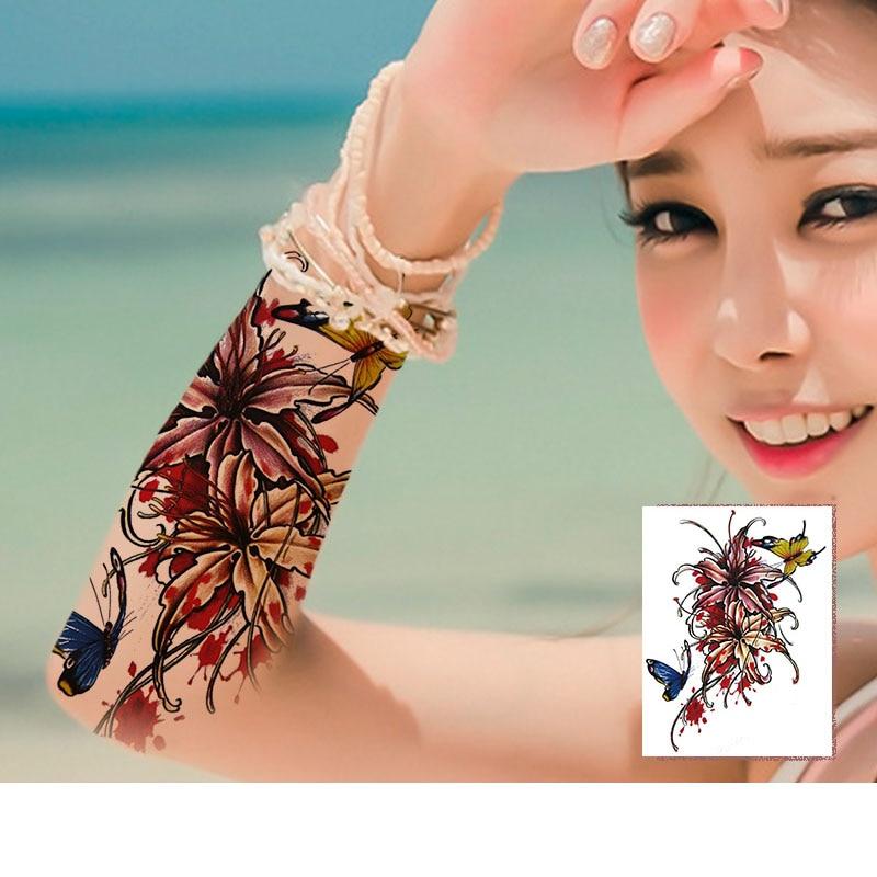 Tattoo Bikini: MANZILIN 9pcs/set Arm Flowers Tattoos Series Water