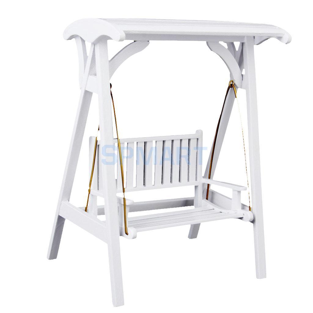 1//12 Dollhouse Miniature Garden Furniture Accessory Wood Swing Rocking Chair