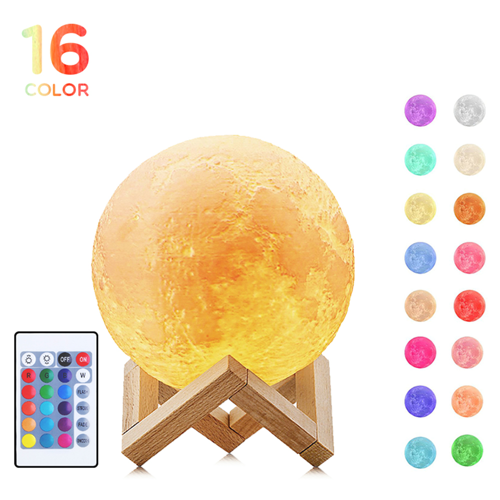 16 Colors 3D Print LED Moon Light Lunar Night Lamp Home Decorative Light Remote Touch Control for Baby Kids Lover Birthday Gifts