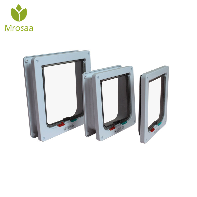 Mrosaa Intellgent Control 4 Way Cat Doors ABS Animal Small Pet Cat Dog Gate Door Pet Supplies Safe Flap Door Pet Kitten door ...