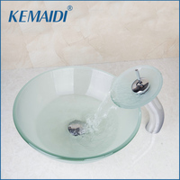 Round Frosted Washbasin Tempered Glass Sink With Brass Faucet Glass Bathroom Sink Set 4067 1