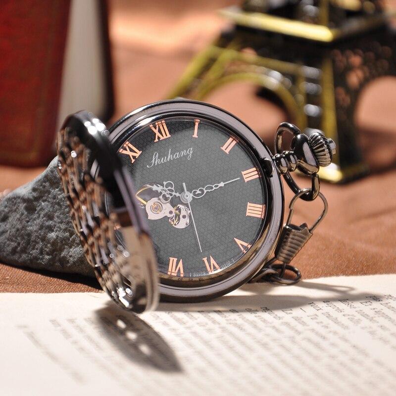 Black Round Diamond Pendant Mechanical Skeleton Watch